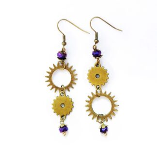 earringswith cogs and purple beads